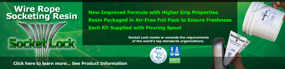 Wire Rope Socketing Resin - Socket Lock. New improved formula with higher grip properties.